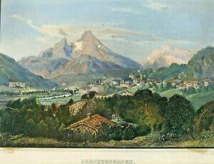 Biedermeier Stahlstich koloriert Berchtesgaden Watzmann F.Würthle S.Riegel ~1850