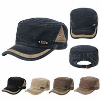 Mens Womens Strapback Patrol Military Cadet Cap Flat Peaky Baseball Hat Snapback
