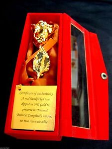 """CHRISTMAS GIFT 24K Gold Dipped 6"""" Real Rose with Gold Satin & Red Velvet Box NEW"""