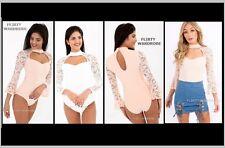 Womens Floral Lace Leotard Bodysuit Top Ladies Choker Neck Bell Sleeve Bodies UK