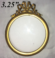"Antique French Petit Portrait Miniature Frame, Bow Top, 3.5"" Round"