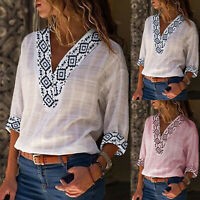Womens V Neck Boho Beach Cover Tops Ladies Vintage Summer Baggy Blouse T-Shirt