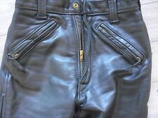 "Women Langlitz Leathers Motorcycle Pants Black 26""X27 Vintage  Cowhide 7 zippers"