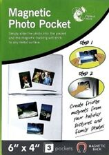 "3 Pcs MAGNETIC PHOTO PICTURE PHOTOGRAPH HOLDERS POCKETS 6"" X 4"" FRIDGE MAGNETS"