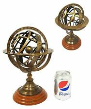 """Maritime Collectible Antique Armillary Sphere Brass Astrolabe On Wooden Base 8"""""""