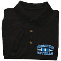 Korean War Veteran shirt Mens polo style t-shirt black US Marines Army Navy vet