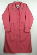 LL Bean Womens Large Pink Polyester Long Trench Coat Duster Rain Jacket, No Hood