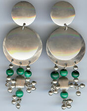SIGNED VINTAGE MEXICO 925 STERLING SILVER MALACHITE LONG DANGLE CLIP ON EARRINGS