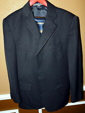 Men's 38R Solid Black 3 Button Suit ANGELO ROSSI Classic Business Dressy Lined