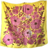 """22.5"""" Bright Yellow Pink MCM Vintage Floral Zinnia Pansy Scarf"""