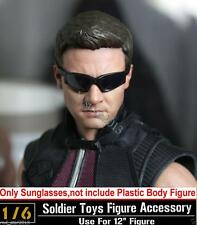 "1/6 Scale Hot toys Sunglasses The Avengers Hawkeye Black Glasses Fit 12"" Head"