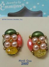 "Vintage 1961 New Old Stock Emmons ""Mardi Gras""  Faux Pearl Clip Earrings Box"