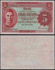MALAYA 5 CENTS (P7b) 1941 KGVI GEF