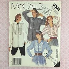Uncut Vtg Pleated Tuxedo Eve Blouse Shirt Misses Sewing Pattern 3388 14 16