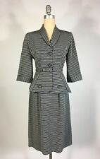 Vintage early 1950's 50s 3pc Black & White stripe fitted DYNAMIC skirt suit set