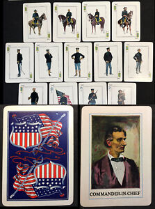 Historic Antique Playing Cards Military Poker Whist Game Deck Abe Lincoln Joker