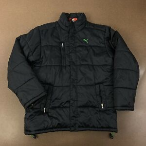 Puma Youth Boys Size Large Black With Green Logo Puffer Winter Coat
