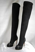 ALESSANDRO DELLACOUA BLACK SUEDE OVER THE KNEE BOOTS EU 37.5 US 7.5