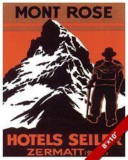 VINTAGE MONTE ROSA MONT ROSE SWITZERLAND TRAVEL AD POSTER ART REAL CANVAS PRINT