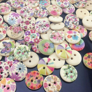 50/100pcs Mixed Baby Pattern Print Flowers Wood Buttons Clothing Sewing WB169