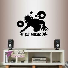 Vinyl Decal Dj Music Headphones Vinyls Stars Party Guy Man Teen Wall Sticker 865