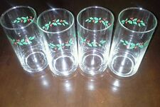 CORELLE COORDINATES HOLLY DAYS TUMBLERS GLASSES SET OF 4