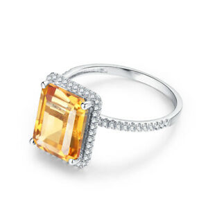 3.5CT Genuine Citrine Natural Diamond Wedding Handcrafted 18K White Gold Ring