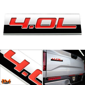 """""""4.0L"""" Polished Metal 3D Decal Red Emblem For Toyota 4Runner/FJ Cruiser/Tundra"""