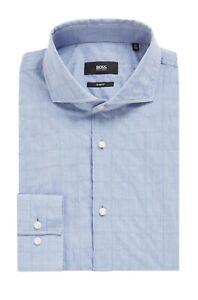 Hugo Boss Men's 'Jason' Open Blue Slim Fit Plaid Seersucker Dress Shirt 17.5