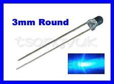 50 Blue 3mm Round LEDs Free Resistors