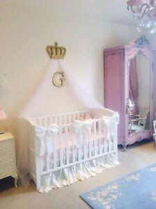 Nursery Decor Baby Girls Large Cot Bow Princess Bedding Set White x 3 Bows
