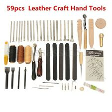 59PCS Leather Craft Hand Tools Kit Hand Stitching Sewing Stamping Punch Carving