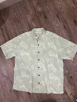 Tommy Bahama Men's Original Fit S/s Hawaiian Button Front Silk Shirt XL Green