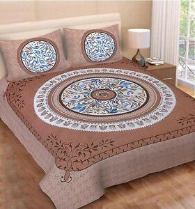 Indien 120TC 100% Cotton King Size Jaipuri Floral Mandala Print Double Bedsheet