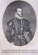 1748 FILIPPO II SPAGNA acquaforte De Prenner Zuccari Felipe II España Portugal