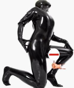 Latex Rubber Black Bodysuit Cosplay Handmade Overall Foot Catsuit S-XXL 0.4mm