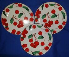 "POTTERY BARN 8"" Salad Plates CHERRY ENAMEL on STAINLESS STEEL Set of 3 Cherries!"