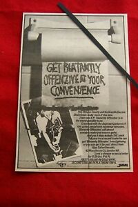 WAYNE COUNTY & THE ELECTRIC CHAIRS 1978  VINTAGE ADVERT BLATANTLY OFFENZIVE EP