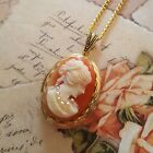 GODDESS CAMEO LOCKET NECKLACE, CLASSIC WOMAN WITH PEARLS GOLD LOCKET & CHAIN