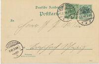 """DT.REICH """"KONSTANZ"""" K2 5 Pf blaugrün Reichspost Kab.-GA-Postkarte (ABART) 1894"""