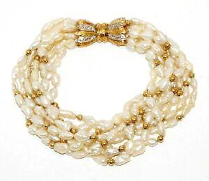 Vintage 8x Strand Freshwater Pearl Bracelet w. 14k YG Bow Clasp Diamonds(GoH)#20