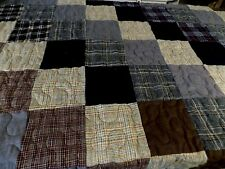 "79"" X 86"" WOOL BLOCKS FINISHED QUILT MACHINE QUILTED NEW REVERSIBLE"