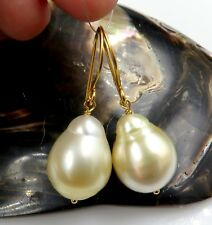 RARE AAA SOUTH SEA MYANMAR 13.3x17mm IRIDESCENT GOLD CULTURED PEARL EARRINGS