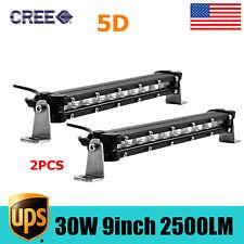 2x 9inch 30W CREE SINGLE ROW LED LIGHT BAR SLIM 5D Optical OFF-ROAD SUV 4WD /10