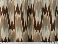 Drapery Upholstery Fabric Ikat Flame Stitch Durable Linen Blend - Brown / Ivory