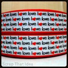 "Love Love Words RIBBON. 1"" Grosgrain. RED/BLACK. Scrapbooking/Craft/Bows. HEARTS"