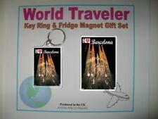 """""""I Love Barcelona"""" Key Ring & Fridge Magnet Gift Set"""