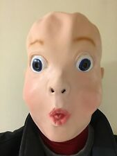 Funny Big Blue Eyed Boy Baby Face Latex Mask Fancy Dress Stag Party Costume