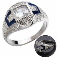 Vintage 925 Plated Silver White Topaz Sapphire Engagement Wedding Ring Wholesale