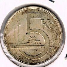 CZECHOSLOVAKIA - 5 KORUN 1930 KM# 11, HIGH GRADE